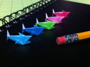 tiny paper origami sharks